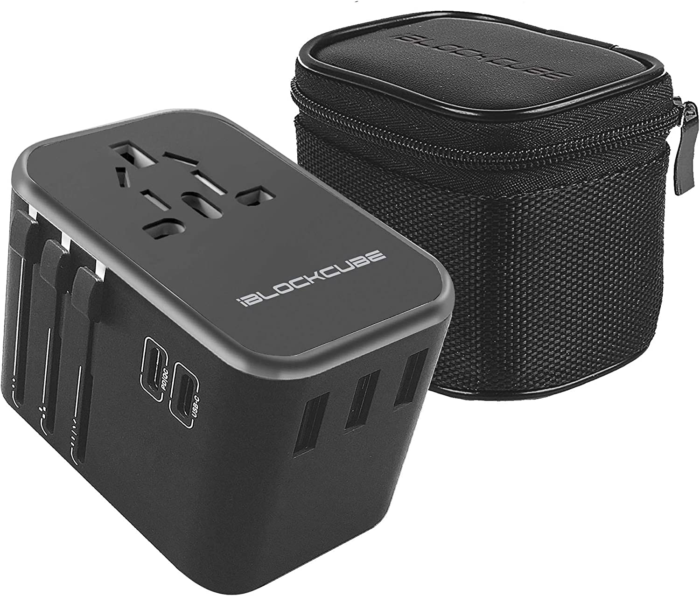 iBlockCube Worldwide Travel Adapter International Plug [US UK EU AU] with Dual Type C Charging Ports [Dual USB Power Rating: 5V/2500mA] & Universal AC Socket, Safety Fused (Gray)