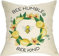 Softxpp Bee Humble Bee Kind Decoration Summer Farmhouse Throw Pillow Cover Nursery Sign Lemon Wreath Home Decor Cushion Case Decorative for Sofa Couch 18 x 18 Inch Cotton Linen
