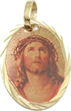 Diamantados of Florida Jesus Christ Face Pendant - Cristo Iluminado Medal 14k Gold Plated Medal with 18 Inch Chain