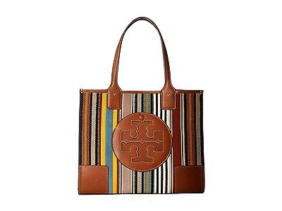 Tory Burch Ella Webbing Patchwork Mini Tote (Multi Webbing Stripe) Handbags