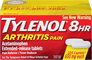 TYLENOL 8 HR Arthritis Pain Extended Release 650 mg Caplets 225 ea (3 Pack)