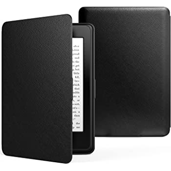 MoKo Case for Kindle Paperwhite, Premium PU Leather Cover with Auto Wake/Sleep Fits All Paperwhite Generations Prior to 2018 (Will not fit All-New Paperwhite 10th Generation), Black
