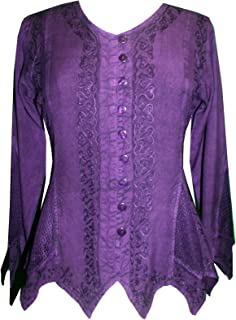 Agan Traders Women's Short Sleeve Embroidered Medieval Vintage Renaissance Top Blouse