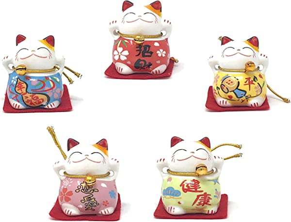Farship Lifestyle Maneki Neko Lucky Cat Ceramic Figurines Set Of 5 For Happiness Love