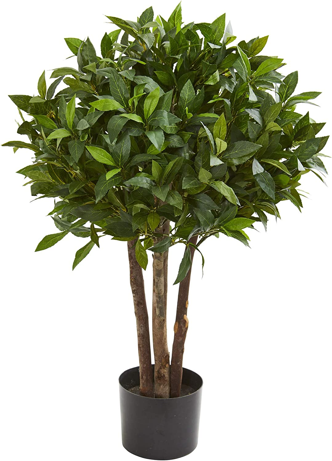 "Nearly Natural 5566 37"" Bay Leaf Topiary Artificial Silk Trees Green"