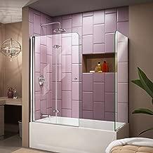 DreamLine Aqua Fold 56-60 in. W x 30 in. D x 58 in. H Frameless Bi-Fold Tub Door with Return Panel in Chrome, SHDR-3636580-RT-01