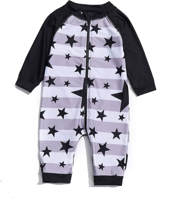 Baby Boys Sunsuits/Swimwear UPF 50+ Sun Protection One Piece Full-Length Zipper Swimsuits with Sun Cap.