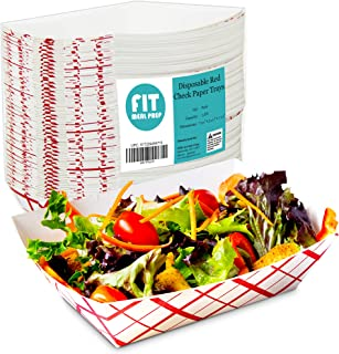 [250 Pack] 3 lb Heavy Duty Disposable Red Check Paper Food Trays Grease Resistant Fast Food Paperboard Boat Basket for Parties Fairs Picnics Carnivals, Holds Tacos Nachos Fries Hot Corn Dogs
