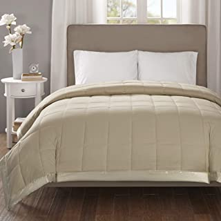 Madison Park Cambria Oversized Down Alternative Blanket, King Size, Taupe, 1 Piece Quilted Embossed Seersucker Hypoallergenic 3M Scotchgard Stain Resistant Bedroom Bedding