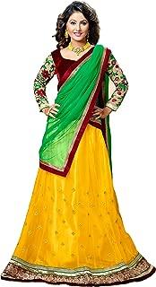 Velvet Maroon, Green, Yellow and Golden - Heavy Work Designer Lehenga / Half saree