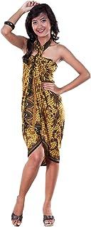 1 World Sarongs Damen Traditionelles Batik Motiv Badeanzug Cover-Up Sarong in Braun