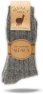 2 pares de calcetines de alpaca para hombres y mujeres, calcetines de lana con lana de alpaca caliente, fibras 100% naturales