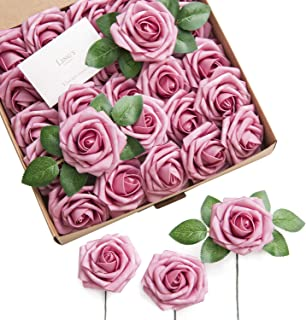 Ling's moment Artificial Flowers Elbtal Pink Roses 50pcs Real Looking Fake Roses w/Stem for DIY Wedding Bouquets Centerpieces Arrangements Party Baby Shower Home Decorations