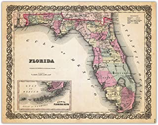 Vintage Florida Map Wall Art Print – (11×14) Photo Unframed Make Great Room..