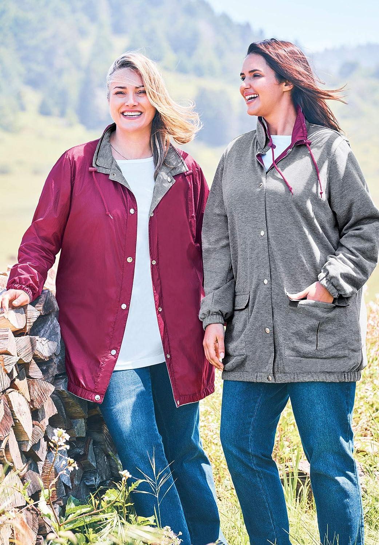 Woman Within Women's Plus Size Fleece Nylon Reversible Jacket Rain Jacket