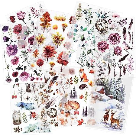 10 feuilles Autocollant de transfert à frotter Autocollants Scrapbook Autocollants de fleur Autocollant de plante de décoration pour Diary Album Journals DIY Arts and Crafts (Forest)