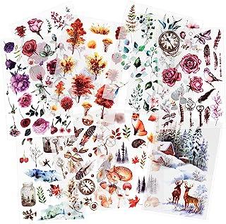 10 feuilles Autocollant de transfert à frotter Autocollants Scrapbook Autocollants de fleur Autocollant de plante de décor...