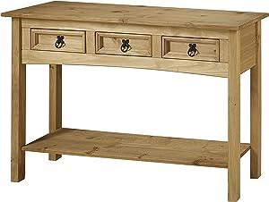 Mercers Furniture, COR88, Tavolo Consolle Con 3 Cassetti, Marrone, 122 x 32 x 73 cm