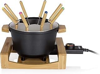 Princess Appareil à fondue Pure noir-Volume 1,5L-Habillage en bambou