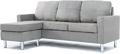 Modern Soft Brush Microfiber Sectional Sofa - Small Space Configurable Couch (Grey)