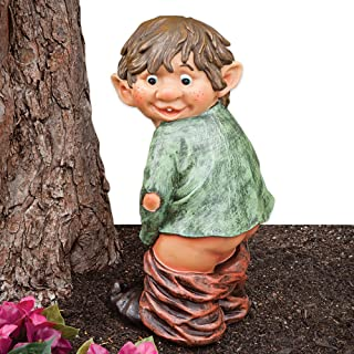 Bits and Pieces - Caught with His Pants Down Garden Elf Statue - Naughty Garden Elf Yard Art, Funny Gnome or Elf - Polyresin Statue Measures 13-1/2