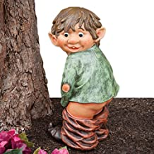 Bits and Pieces - Caught with His Pants Down Garden Elf Statue - Naughty Garden Elf Yard Art Funny Gnome Or Elf - Polyresin Statue Measures 13-1/2 high x 5 Wide