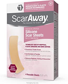ScarAway Silicone Scar Sheets for C-Sections, shrink, flatten and fade scars, 4 Sheets