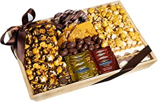 Chocolate, Caramel and Crunch Grand Gift Basket Tray With Protective Packaging, Damage Free.