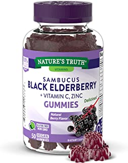 Sambucus Black Elderberry Gummies | 50 Count | with Vitamin C and Zinc | Natural Berry Flavor | Vegan, Non-GMO, Gluten Free | Extract Gummies for Adults | by Nature's Truth