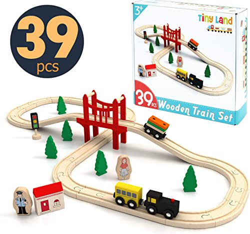 high quality Toy-Train-Set-39 Piece-Wooden-Track & Train Pack Fits Thomas, Brio, 2021 Chuggington, lowest Melissa - Kids Friendly Building & Construction Toy- Expandable, Changeable-Fun for 3+ Years Old Girls & Boys online