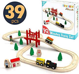 Toy-Train-Set-39 Piece-Wooden-Track & Train Pack Fits Thomas, Brio, Chuggington, Melissa - Kids Friendly Building & Constr...