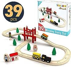 Wooden Train Set Starter 39-Piece Track Pack with Bridge Fits Thomas Brio Chuggington, Engine & Passenger Car, Kids Friendly Building & Construction-Expandable, Changeable-Fun for Girls & Boys