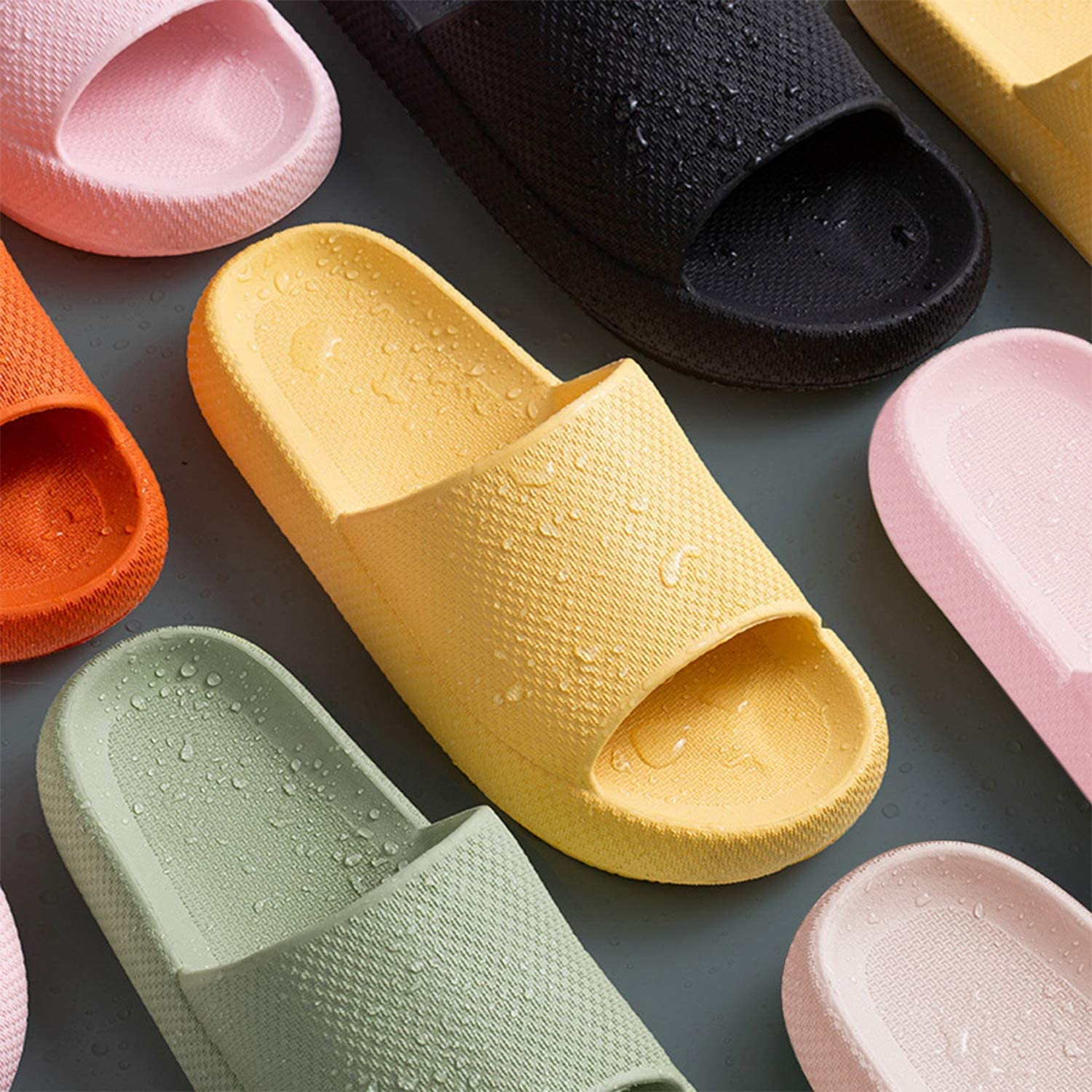 Menore Slippers for Women and Men Quick Drying EVA Open Toe Soft Slippers Non-Slip Massage Shower Spa Bath Pool Gym House Sandals for Indoor /& Outdoor