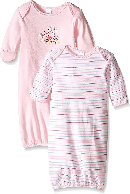 Spasilk Baby Girls' 2 Pack 100 Percent Cotton Gown, Pink Flower