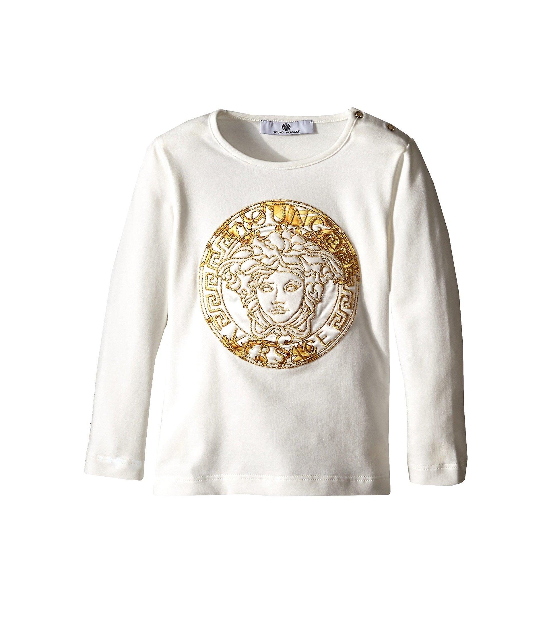Camiseta para Niña Versace Kids Medusa Print w/ Stone Graphic Long Sleeve Tee  + Versace en VeoyCompro.net