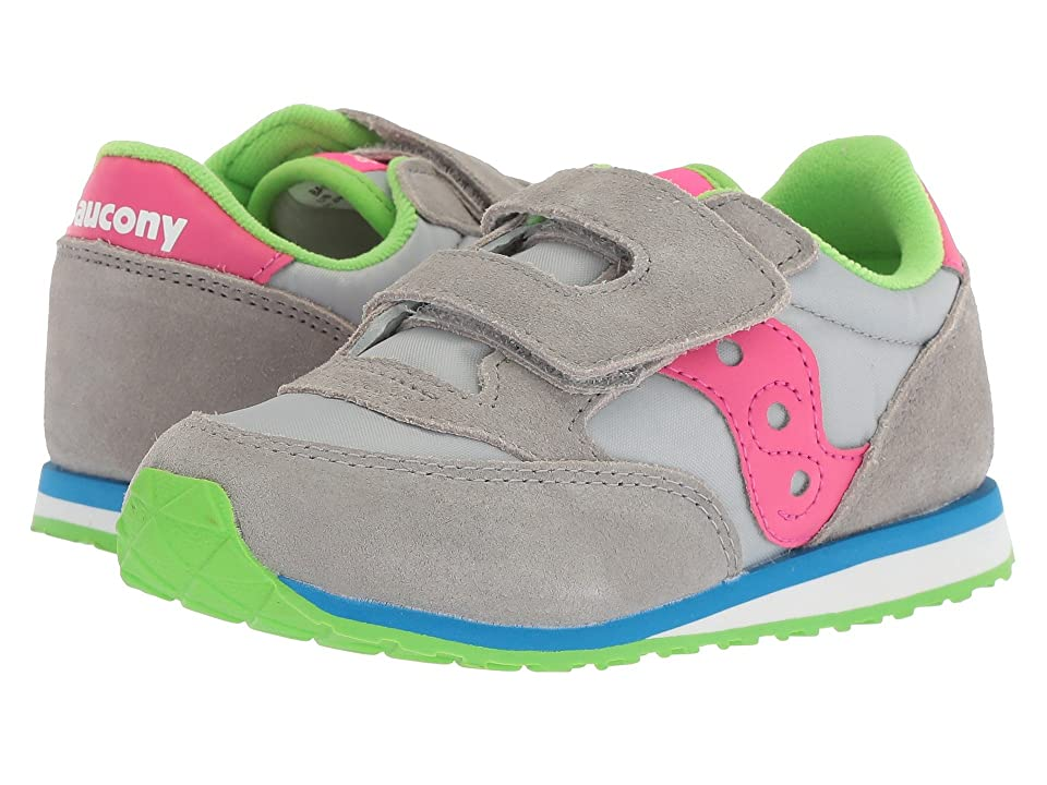 Saucony Kids Jazz Hook Loop (Toddler/Little Kid) (Grey/Pink) Girl