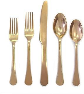 Cambridge Silversmiths 20 Piece Indira Katni Flatware Set, Rumbled Brass, Service for 4