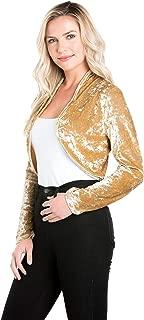 Women`s Collarless Open Front Velvet Bolero Shrug Cardigan Cropped Jacket
