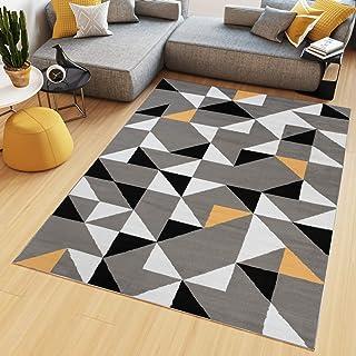 Genial Tapiso Maya Tapis De Salon Chambre Ado Design Moderne Orange Gris Blanc Noir  Triangle Géométrique Mosaïque