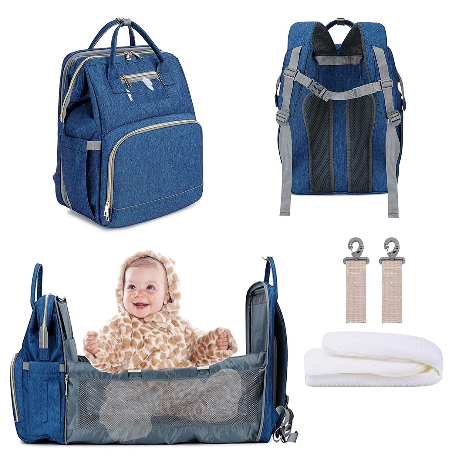 3 in 1 Diaper Backpack with USB Charge Port, Multifunctional Nappy Bag Foldable Baby Bed Travel Bassinet for Baby. Insulated Bottle Warmer Diaper Bag with Changing Station for Dad/Mom (Bag+Crib+USB)