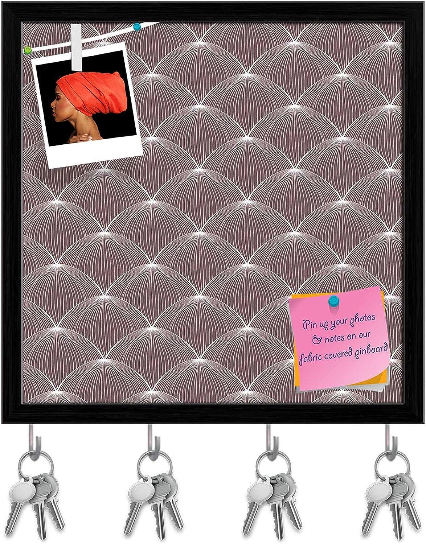 Artzfolio Stylized Balls Key Holder Hooks   Notice Pin Board   Black Frame 20 X 20Inch