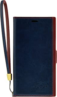 iPhoneX(5.8インチ)専用手帳型ケース FLAMINGO BLUE 横開き レザー 手帳型 カードポケット付 ハンドストラップ付 iP8-FL03