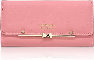 Women Cute Bowknot Wallet Trifold Large Capacity Long Purse