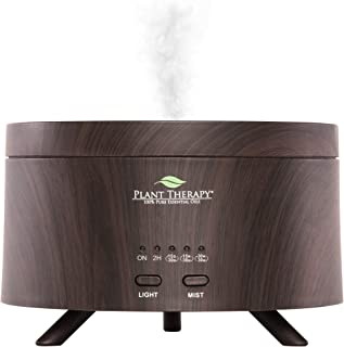 Plant Therapy AromaFuse Aromatherapy Essential Oil Diffuser 380 mL, Wood-Grain - Premium, Quiet, Atomizing Humidifier, 5 Timer Settings, 3 Dimmable LED Night Light Settings, Auto Shut Off
