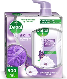 Dettol Sensitive Anti-Bacterial Body Wash 500ml With Puff - Lavender & White Musk