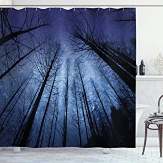 Ambesonne Night Sky Shower Curtain by, Forest Dry Tree Branches Starry Sky Stars Dawn Winter Landscape Image, Fabric Bathroom Decor Set with Hooks, 70 Inches, Navy Blue and Black