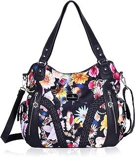 Angelkiss Women Top Handle Satchel Handbags Shoulder Bag Messenger Tote Washed Leather Purses Bag …