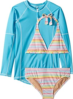 Toobydoo Rainbow Stripe Bikini & Rashguard Set (Infant/Toddler/Little Kids/Big Kids)