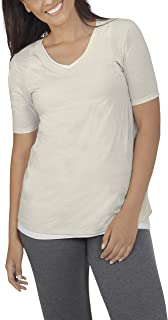 Fruit of the Loom Women's Essentials All Day Elbow Length V-Neck T-Shirt