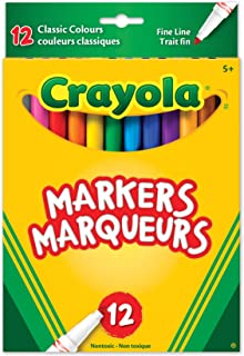 Crayola 12 Fine Line Original Markers, Adult Colouring, Bullet Journaling, School and Craft Supplies, Drawing Gift for Boy...